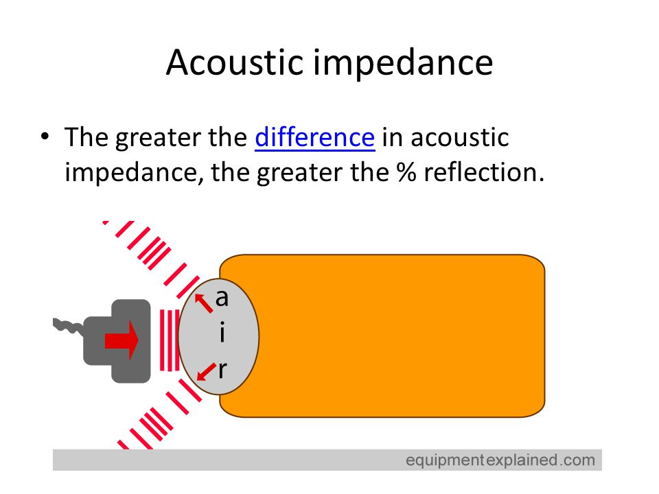 Acoustic impedance The greater the difference in acoustic impedance, the greater the % reflection.