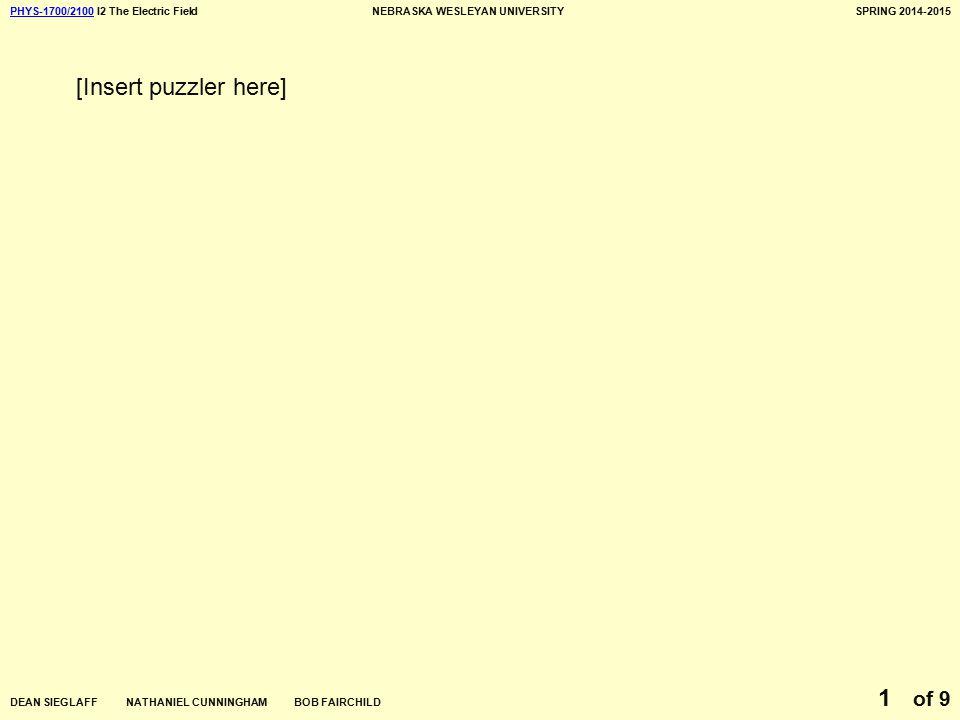 PHYS-1700/2100PHYS-1700/2100 I2 The Electric FieldNEBRASKA WESLEYAN UNIVERSITYSPRING 2014-2015 DEAN SIEGLAFF NATHANIEL CUNNINGHAM BOB FAIRCHILD of 9 1