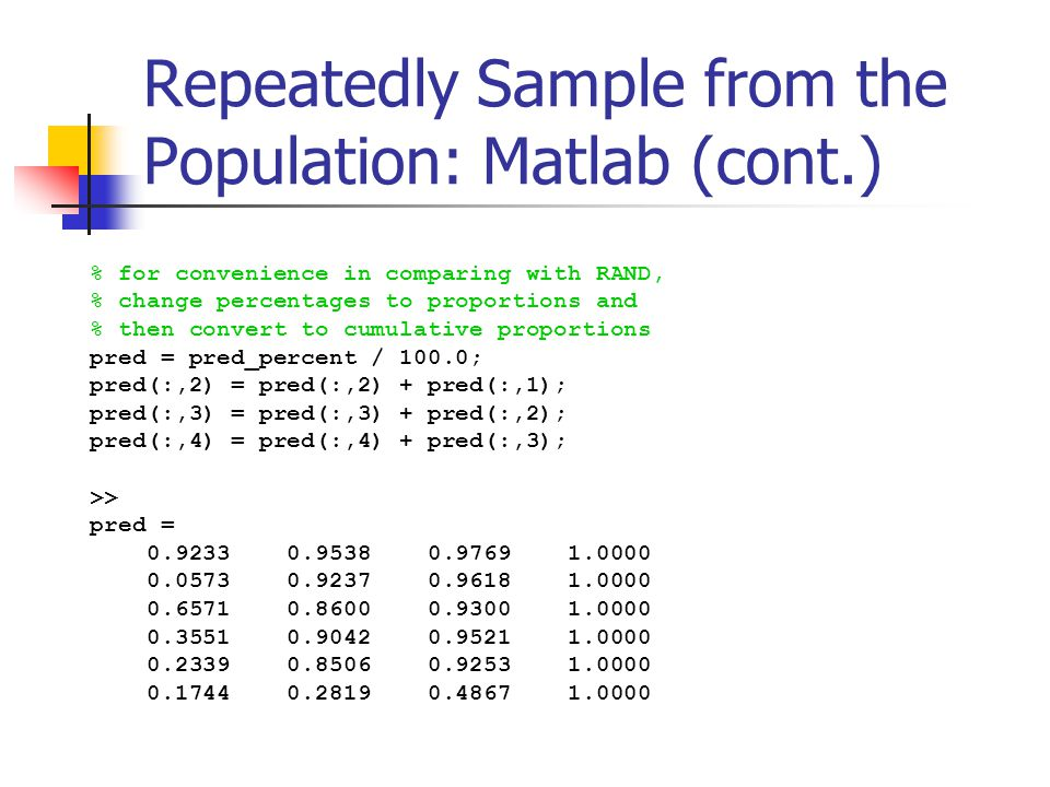 Repeatedly Sample from the Population: Matlab (cont.) % for convenience in comparing with RAND, % change percentages to proportions and % then convert to cumulative proportions pred = pred_percent / 100.0; pred(:,2) = pred(:,2) + pred(:,1); pred(:,3) = pred(:,3) + pred(:,2); pred(:,4) = pred(:,4) + pred(:,3); >> pred =