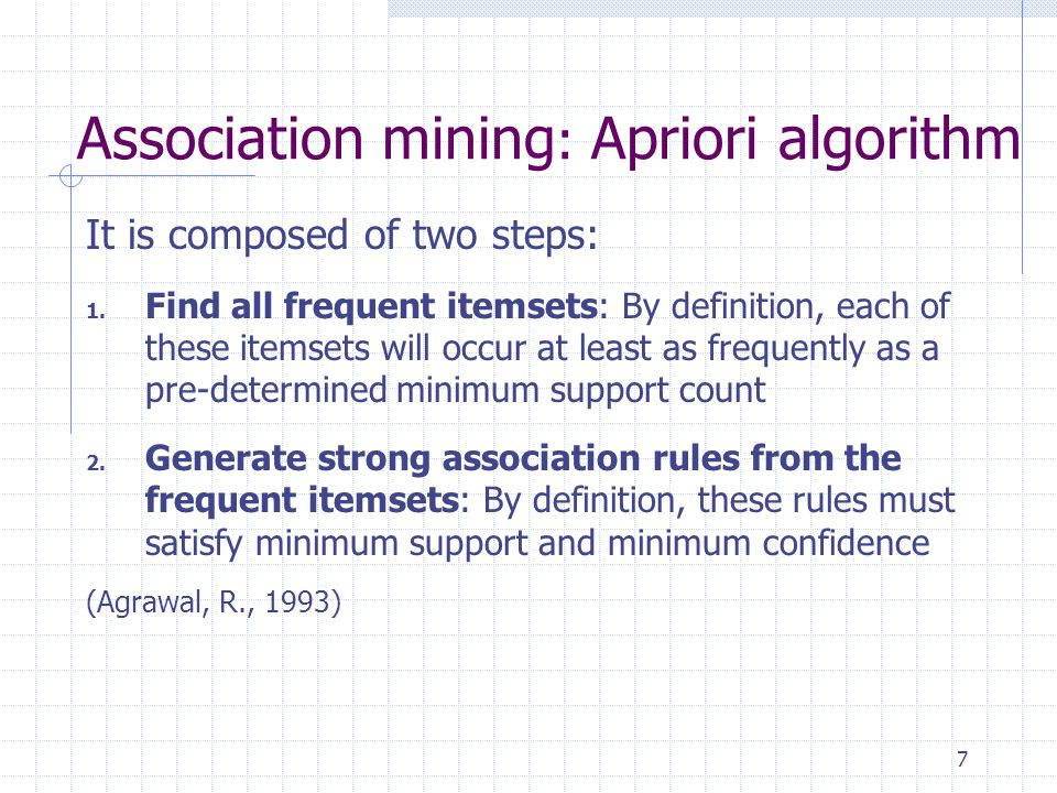 8 Association mining: Apriori principle For rule A  C support = support({A and C}) = 50% confidence = support({A and C})/support({A}) = 66.6% The Apriori principle: Any subset of a frequent itemset must be frequent (if an itemset is not frequent, its supersets are not) Min.