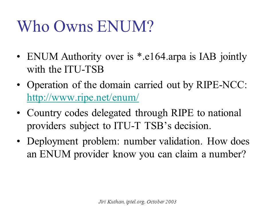Jiri Kuthan, iptel.org, October 2003 ENUM Call Flow DNS/ ENUM INVITE sip:jiri@iptel.org Gateway with ENUM resolution PSTN: +4917… ...7.1.9.4.e164.arpa .