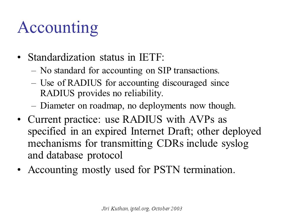 Jiri Kuthan, iptel.org, October 2003 AAA