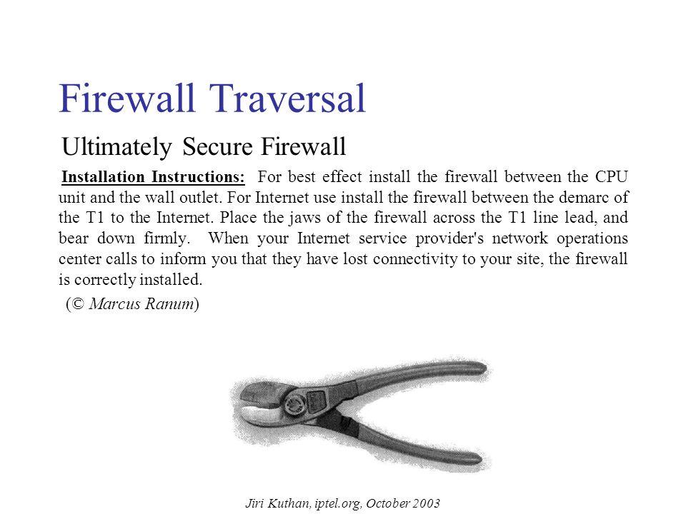 Jiri Kuthan, iptel.org, October 2003 Firewall/NAT Traversal