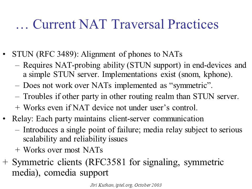 Jiri Kuthan, iptel.org, October 2003 Current NAT Traversal Practices … Application Layer Gateways (ALGs) – built-in application awareness in NATs. –Re