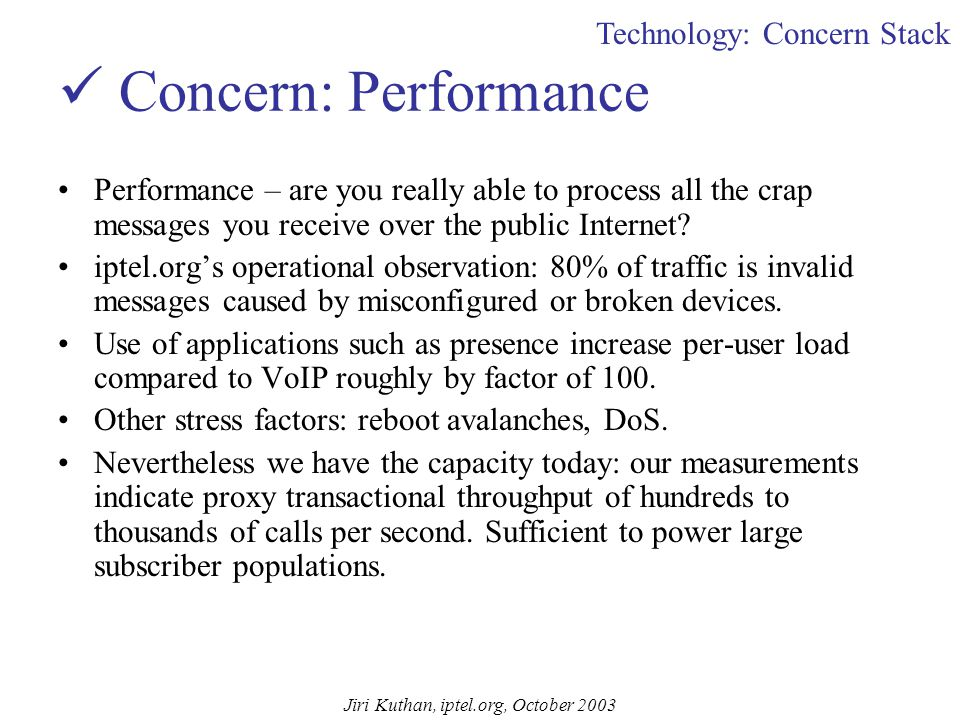 Jiri Kuthan, iptel.org, October 2003 Things That Work Basic VoIP services work, so do complementary integrated services such as instant messaging, voi