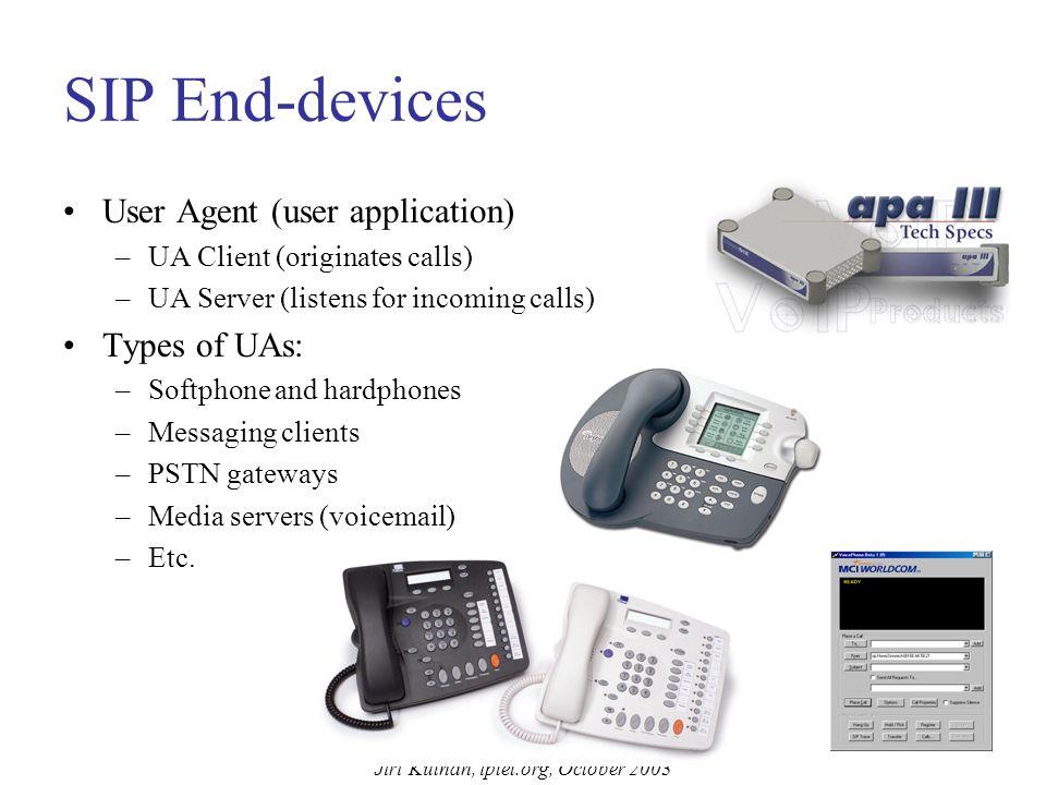 Jiri Kuthan, iptel.org, October 2003 Basic SIP Call-Flow (Proxy Mode) Caller@sip.com sip:jiri@195.37.78.173 Location Database Proxy INVITE sip:jiri@195.37.78.173 From: sip:Caller@sip.com;tag=12 To: sip: jiri@iptel.org Call-ID: 345678@sip.com #4 DNS SRV Query .