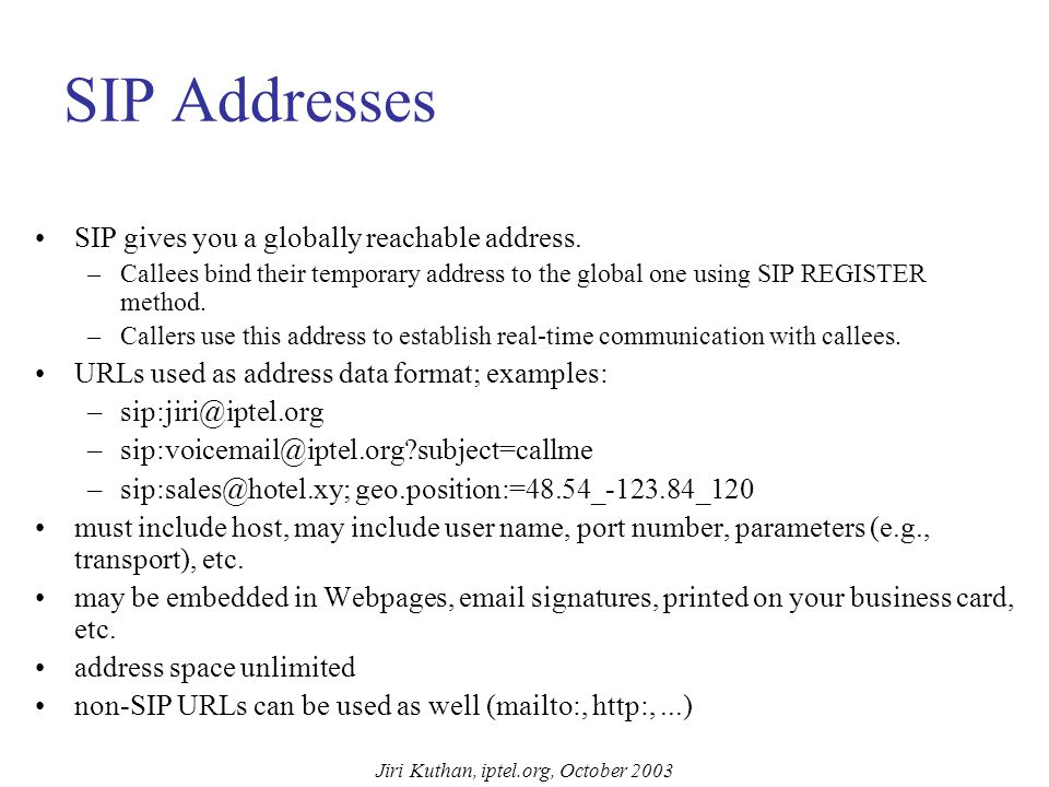 SIP Message Structure INVITE sip:UserB@there.com SIP/2.0 Via: SIP/2.0/UDP here.com:5060 From: BigGuy ;tag=123 To: LittleGuy Call-ID: 12345600@here.com