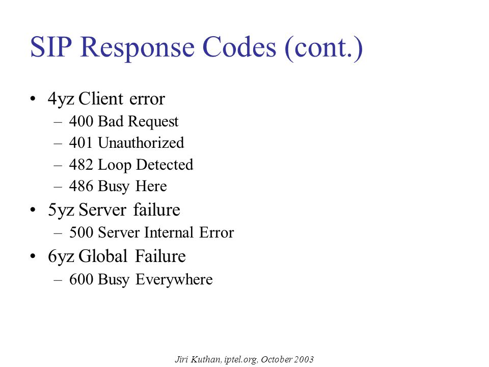 Jiri Kuthan, iptel.org, October 2003 SIP Response Codes Borrowed from HTTP: xyz explanatory text Receivers need to understand response class ( x ) x80 and higher codes avoid conflicts with future HTTP response codes 1yzInformational –100 Trying –180 Ringing (ringing tone played locally) –181 Call is Being Forwarded 2yzSuccess –200 ok 3yzRedirection –300 Multiple Choices –301 Moved Permanently –302 Moved Temporarily