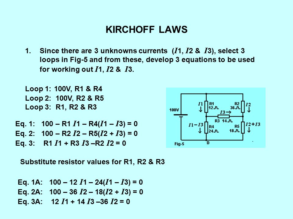 KIRCHOFF LAWS From previous slide Eq.1A: 100 – 12 I 1 – 24( I 1 – I 3) = 0 Eq.