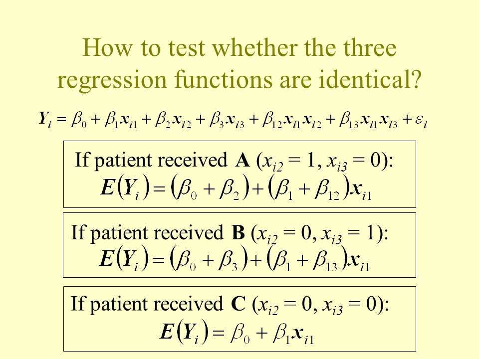 How to test whether the three regression functions are identical.