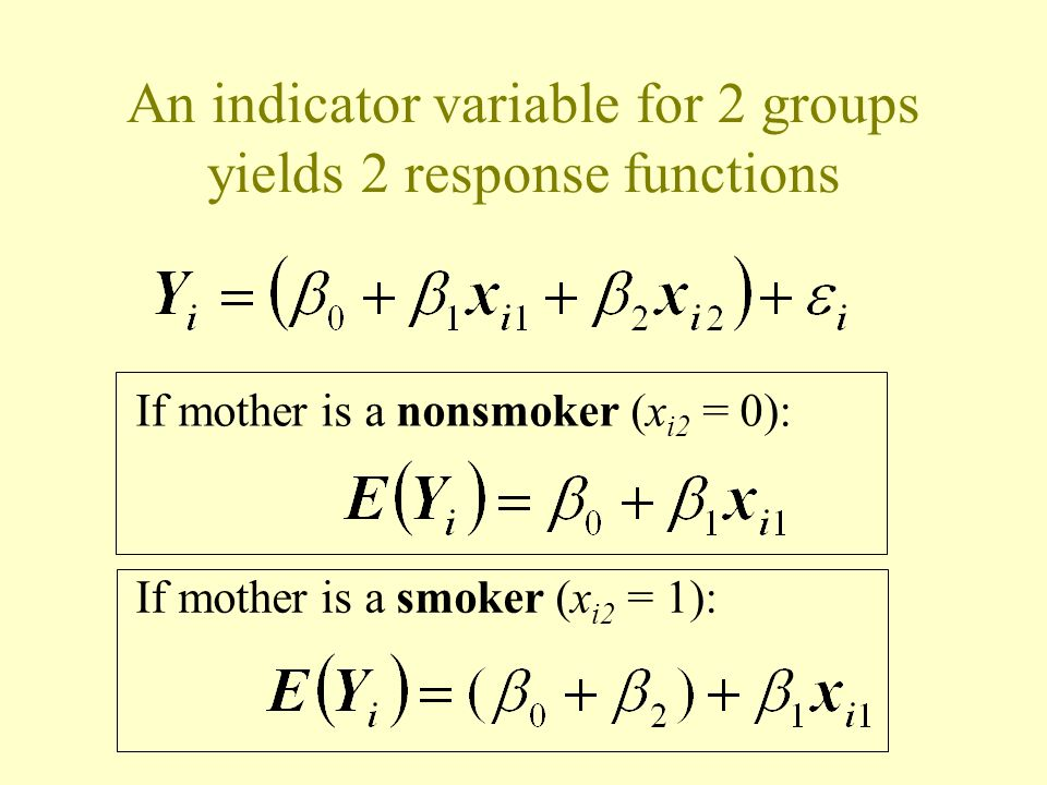 An indicator variable for 2 groups yields 2 response functions If mother is a smoker (x i2 = 1): If mother is a nonsmoker (x i2 = 0):