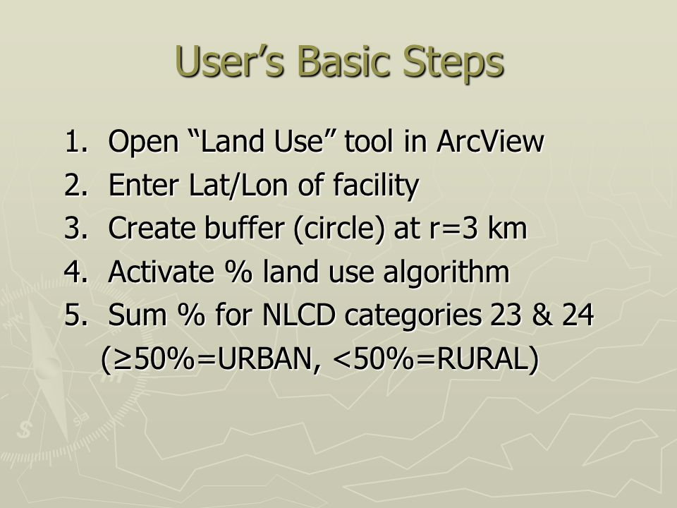 User's Basic Steps 1.Open Land Use tool in ArcView 1.