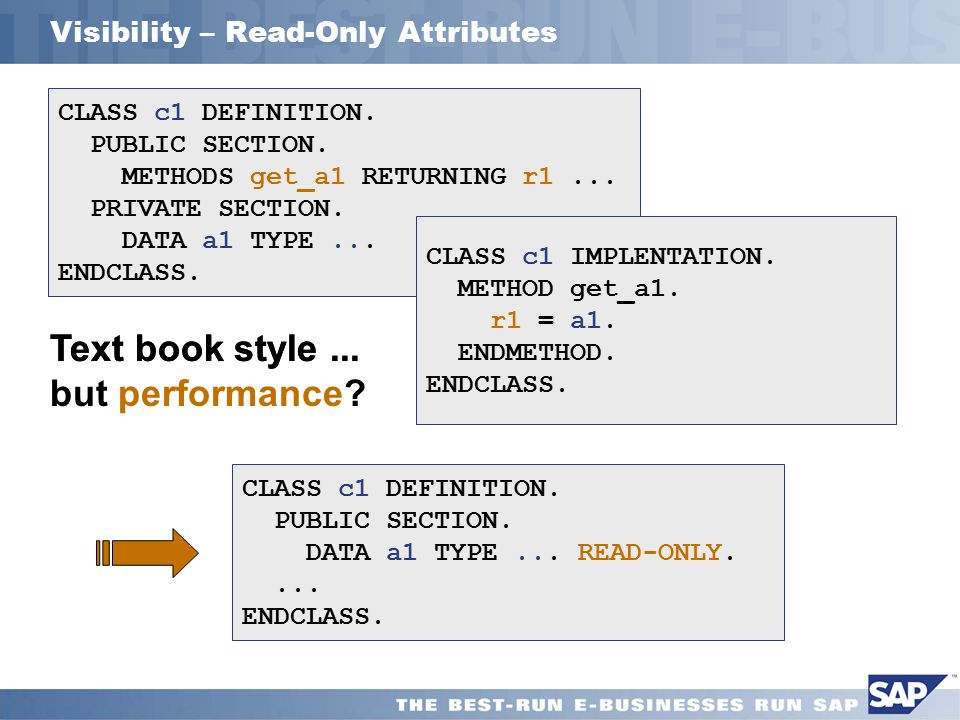 Visibility – Read-Only Attributes CLASS c1 DEFINITION.
