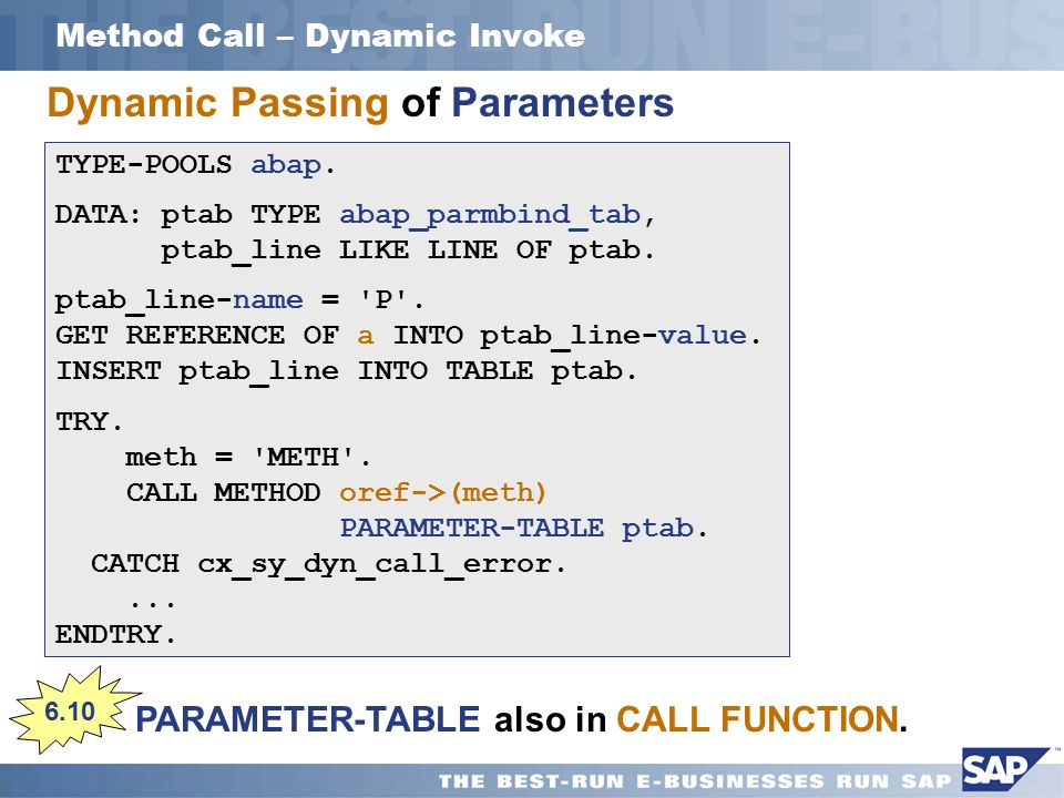 Method Call – Dynamic Invoke PARAMETER-TABLE also in CALL FUNCTION.