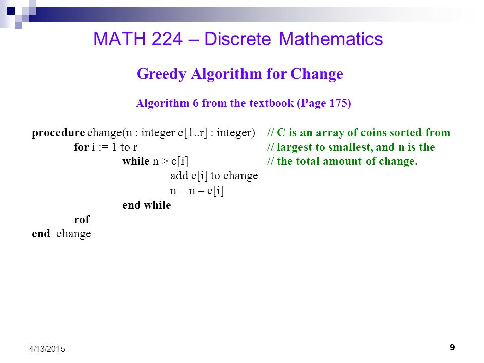 10 4/13/2015 MATH 224 – Discrete Mathematics Asymptotic Growth of Functions Big-0 – an Upper Bound Omega – a Lower Bound Theta – a Tight Bound