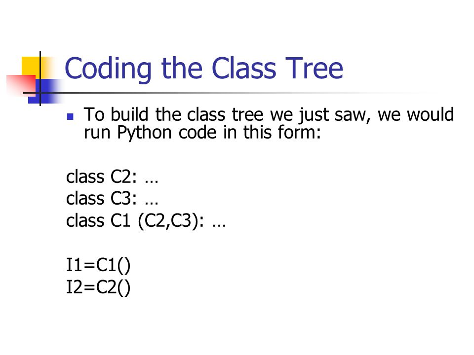 Coding the Class Tree To build the class tree we just saw, we would run Python code in this form: class C2: … class C3: … class C1 (C2,C3): … I1=C1() I2=C2()