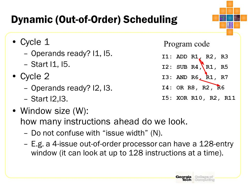 Dynamic (Out-of-Order) Scheduling I1: ADD R1, R2, R3 I2: SUB R4, R1, R5 I3: AND R6, R1, R7 I4: OR R8, R2, R6 I5: XOR R10, R2, R11 Program code Cycle 1 –Operands ready.