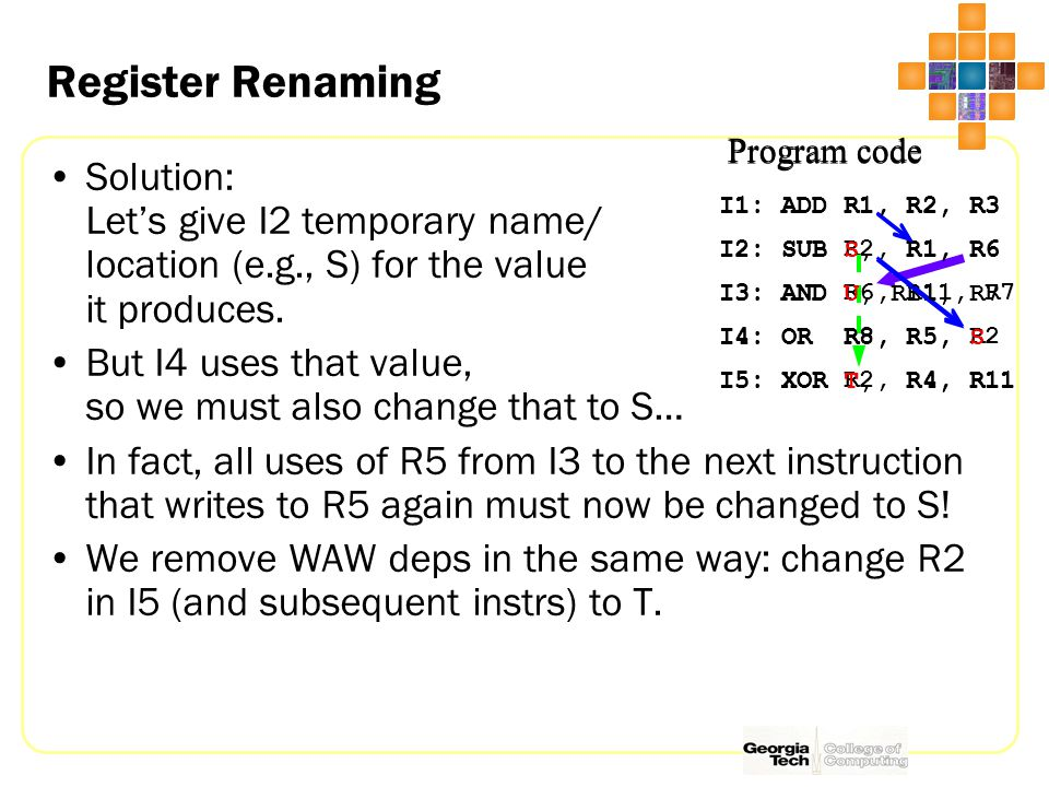 Register Renaming Solution: Let's give I2 temporary name/ location (e.g., S) for the value it produces.