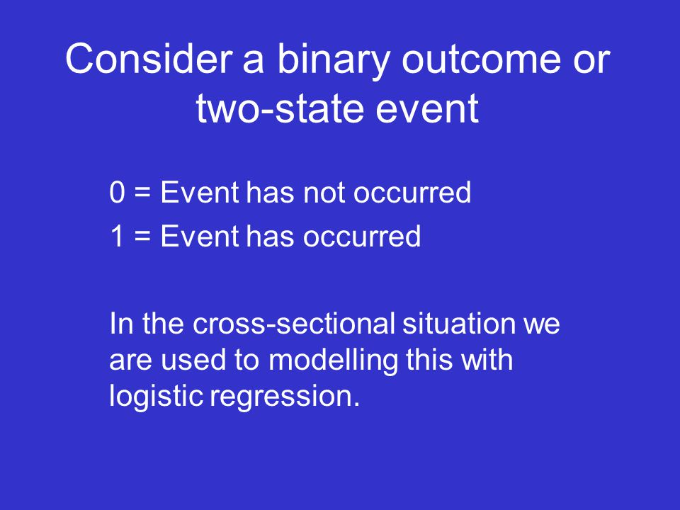 Consider a binary outcome or two-state event 0 = Event has not occurred 1 = Event has occurred In the cross-sectional situation we are used to modelling this with logistic regression.