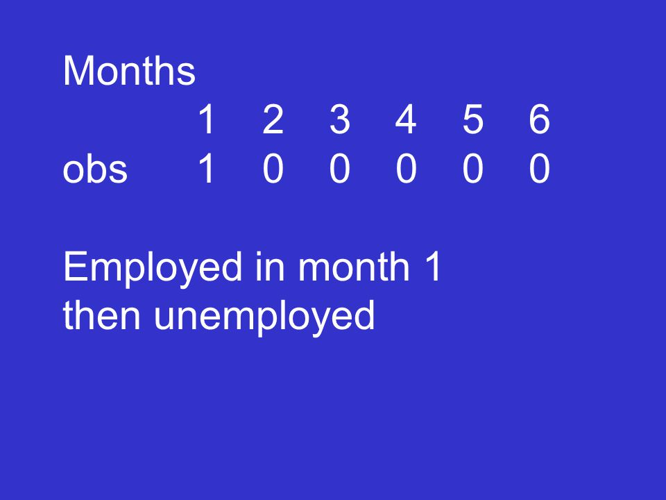 Months 123456 obs100000 Employed in month 1 then unemployed
