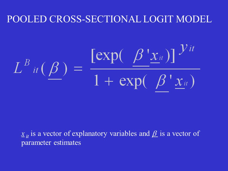 POOLED CROSS-SECTIONAL LOGIT MODEL x it is a vector of explanatory variables and  is a vector of parameter estimates