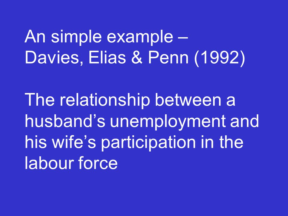 An simple example – Davies, Elias & Penn (1992) The relationship between a husband's unemployment and his wife's participation in the labour force