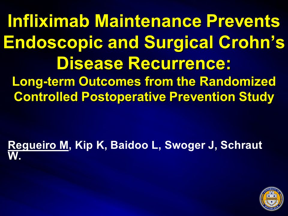 Infliximab Maintenance Prevents Endoscopic and Surgical Crohn's Disease Recurrence: Long-term Outcomes from the Randomized Controlled Postoperative Prevention Study Regueiro M, Kip K, Baidoo L, Swoger J, Schraut W.