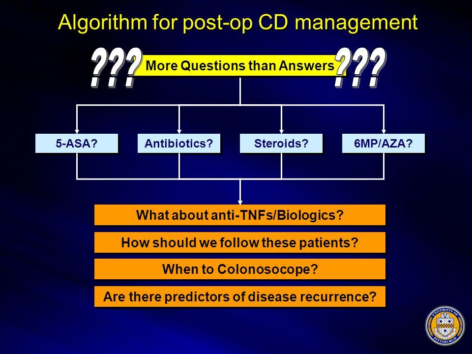 Algorithm for post-op CD management 5-ASA? Antibiotics? Steroids? 6MP/AZA? What about anti-TNFs/Biologics? How should we follow these patients? When t
