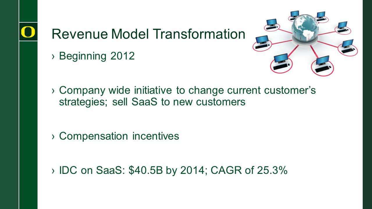Revenue Model Transformation ›Beginning 2012 ›Company wide initiative to change current customer's strategies; sell SaaS to new customers ›Compensatio