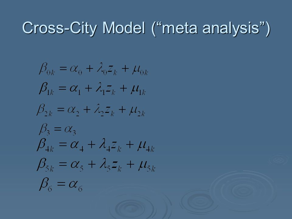 "Cross-City Model (""meta analysis"")"