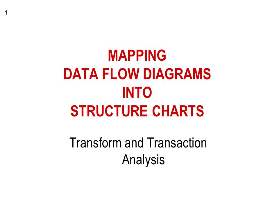 1 MAPPING DATA FLOW DIAGRAMS INTO STRUCTURE CHARTS Transform and Transaction Analysis