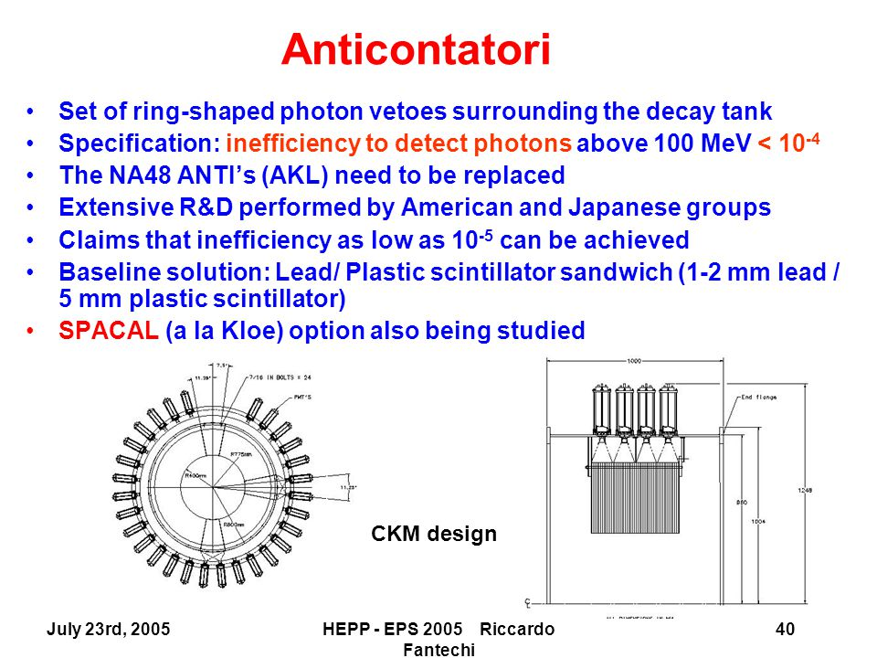 July 23rd, 2005HEPP - EPS 2005 Riccardo Fantechi 40 Set of ring-shaped photon vetoes surrounding the decay tank Specification: inefficiency to detect