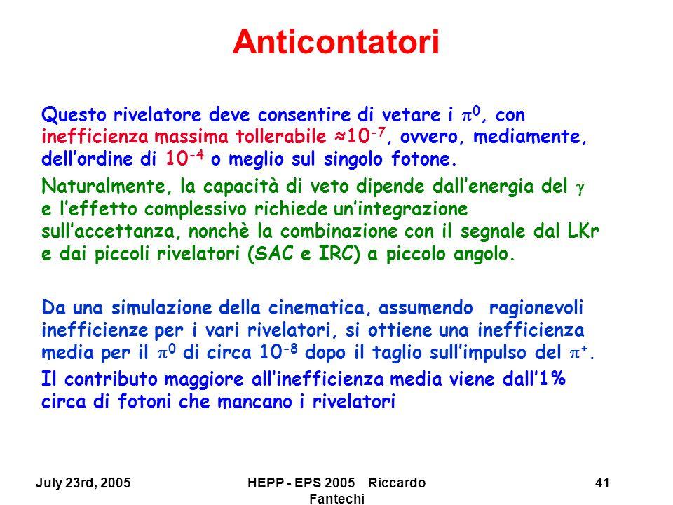 July 23rd, 2005HEPP - EPS 2005 Riccardo Fantechi 41 Questo rivelatore deve consentire di vetare i  0, con inefficienza massima tollerabile ≈10 -7, ovvero, mediamente, dell'ordine di 10 -4 o meglio sul singolo fotone.