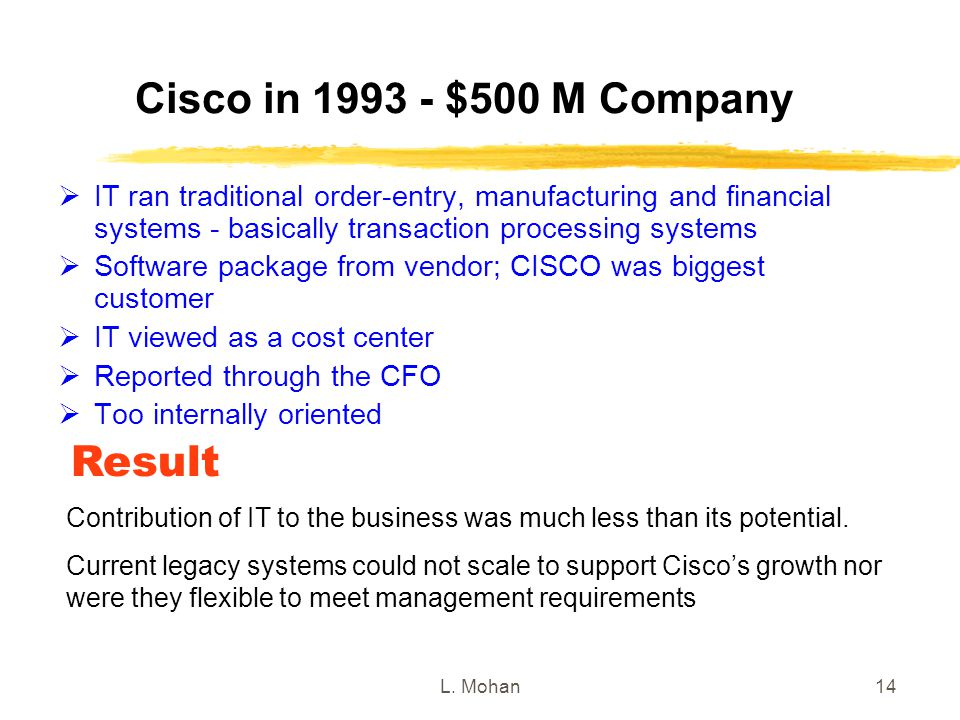 L. Mohan14 Cisco in 1993 - $500 M Company  IT ran traditional order-entry, manufacturing and financial systems - basically transaction processing sys