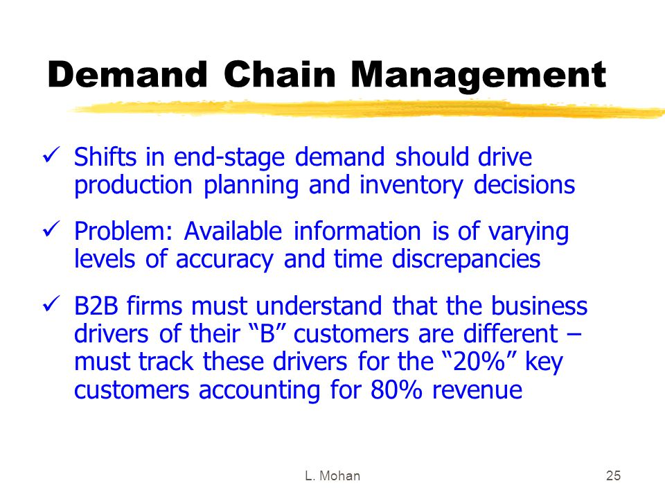 L. Mohan25 Demand Chain Management Shifts in end-stage demand should drive production planning and inventory decisions Problem: Available information