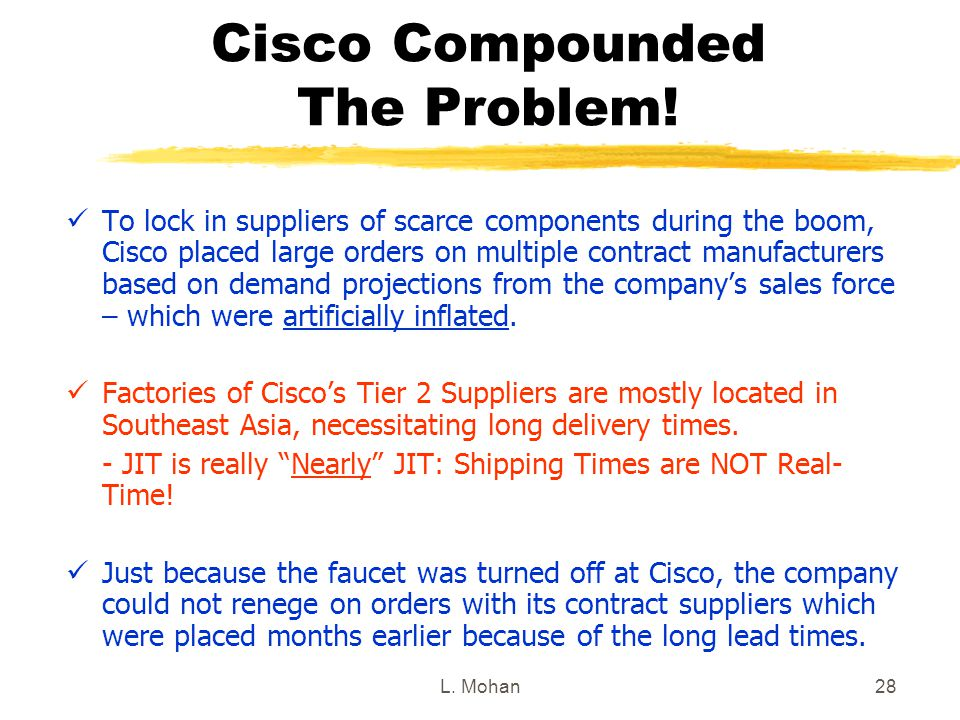 L. Mohan28 Cisco Compounded The Problem! To lock in suppliers of scarce components during the boom, Cisco placed large orders on multiple contract man
