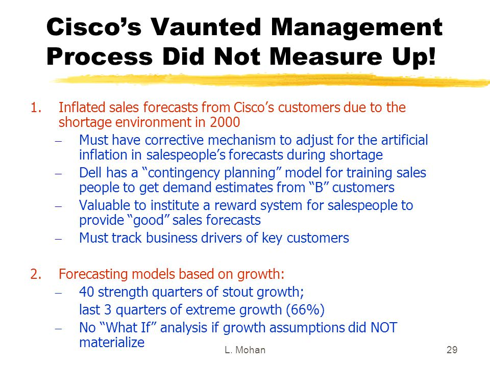 L. Mohan29 Cisco's Vaunted Management Process Did Not Measure Up! 1.Inflated sales forecasts from Cisco's customers due to the shortage environment in