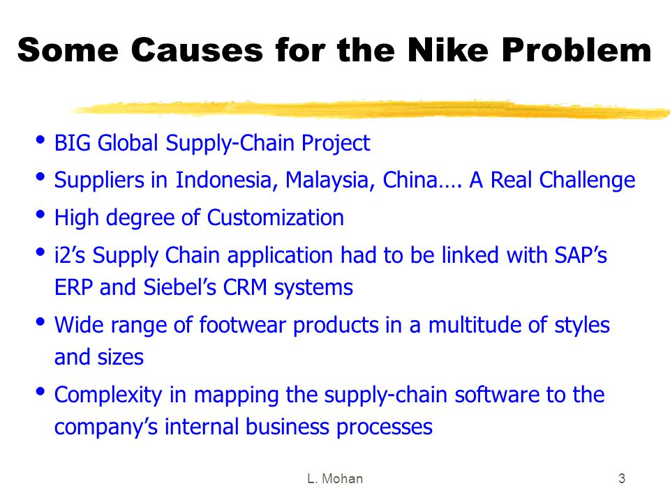 L. Mohan3 Some Causes for the Nike Problem  BIG Global Supply-Chain Project  Suppliers in Indonesia, Malaysia, China…. A Real Challenge  High degre