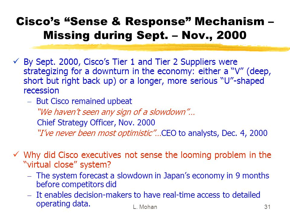 """L. Mohan31 Cisco's """"Sense & Response"""" Mechanism – Missing during Sept. – Nov., 2000 By Sept. 2000, Cisco's Tier 1 and Tier 2 Suppliers were strategizi"""