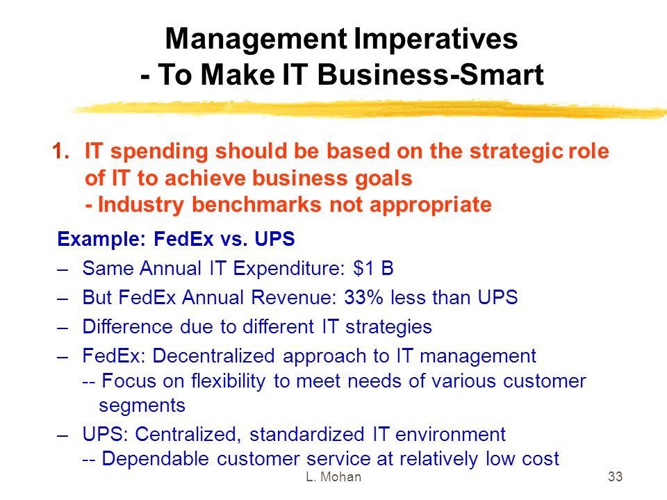 L. Mohan33 Management Imperatives - To Make IT Business-Smart Example: FedEx vs. UPS –Same Annual IT Expenditure: $1 B –But FedEx Annual Revenue: 33%