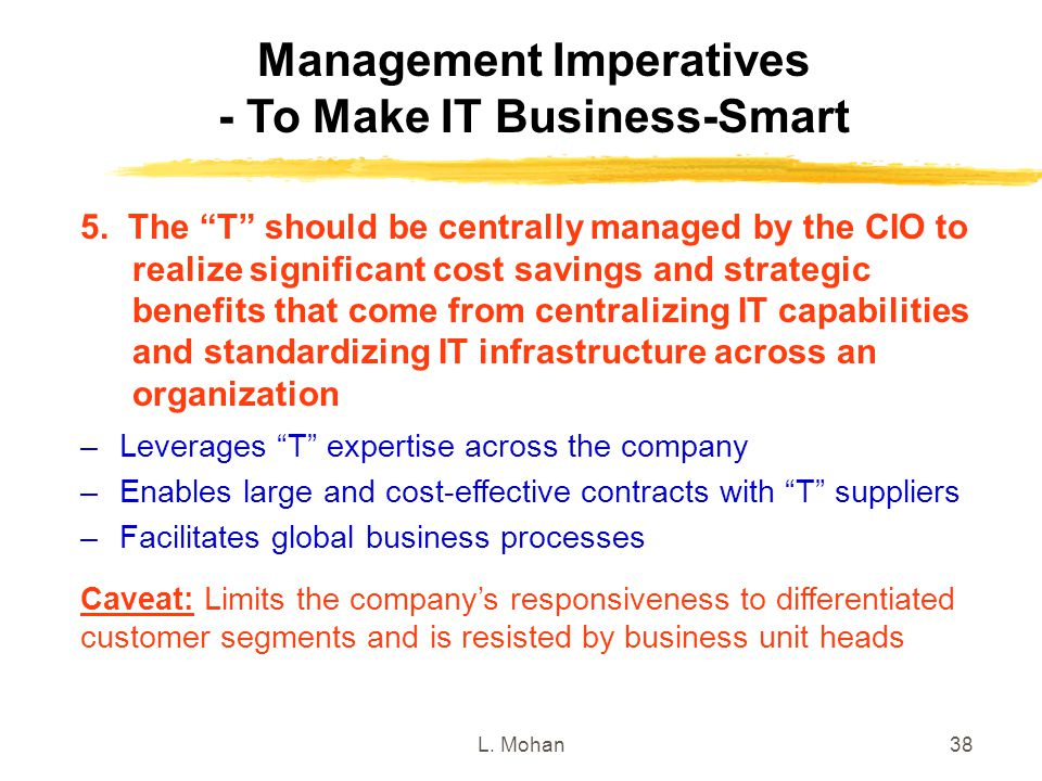 """L. Mohan38 Management Imperatives - To Make IT Business-Smart –Leverages """"T"""" expertise across the company –Enables large and cost-effective contracts"""