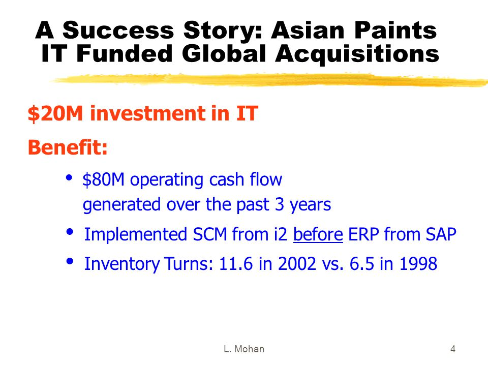 L. Mohan4 A Success Story: Asian Paints IT Funded Global Acquisitions $20M investment in IT Benefit:  $80M operating cash flow generated over the pas