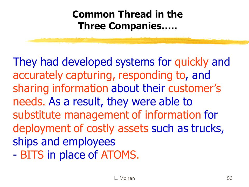 L. Mohan53 Common Thread in the Three Companies….. They had developed systems for quickly and accurately capturing, responding to, and sharing informa