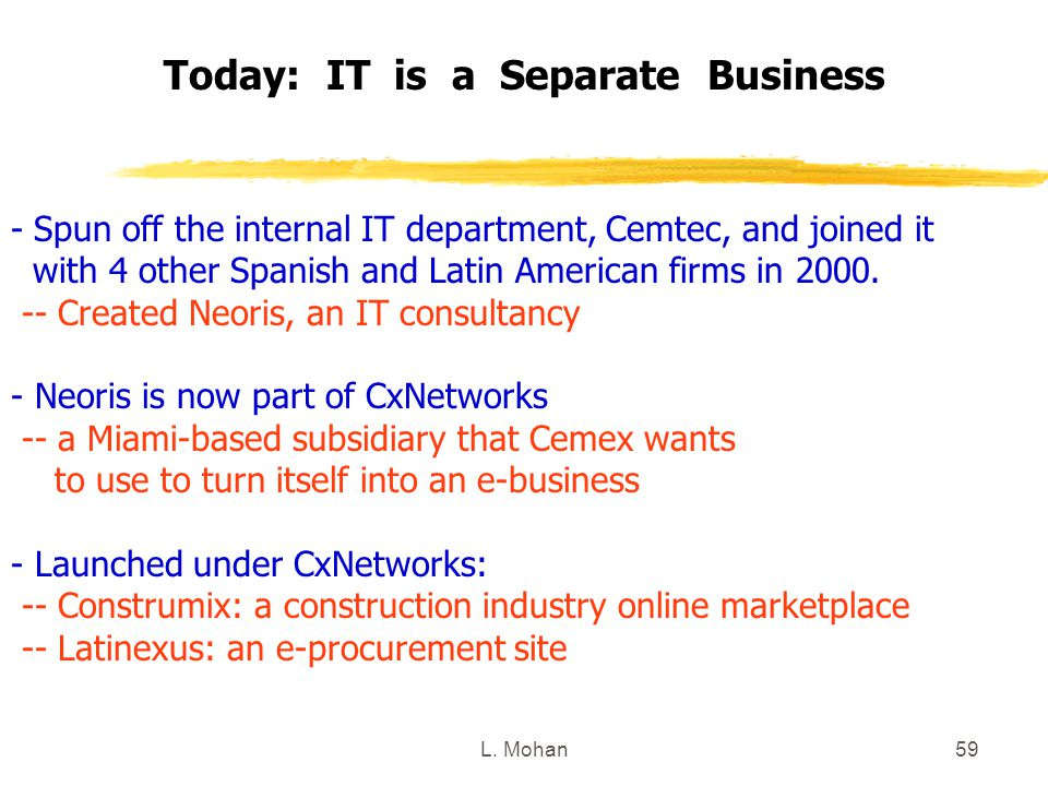 L. Mohan59 Today: IT is a Separate Business - Spun off the internal IT department, Cemtec, and joined it with 4 other Spanish and Latin American firms