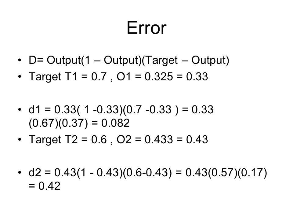 Error D= Output(1 – Output)(Target – Output) Target T1 = 0.7, O1 = 0.325 = 0.33 d1 = 0.33( 1 -0.33)(0.7 -0.33 ) = 0.33 (0.67)(0.37) = 0.082 Target T2 = 0.6, O2 = 0.433 = 0.43 d2 = 0.43(1 - 0.43)(0.6-0.43) = 0.43(0.57)(0.17) = 0.42