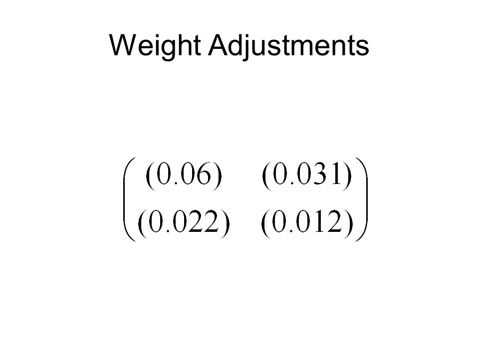Weight Adjustments
