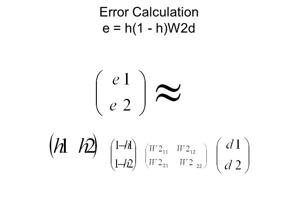 Error Calculation e = h(1 - h)W2d
