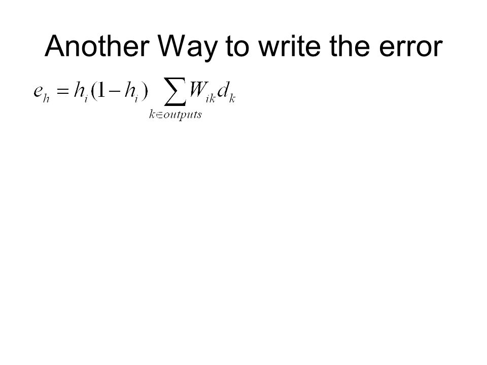 Another Way to write the error