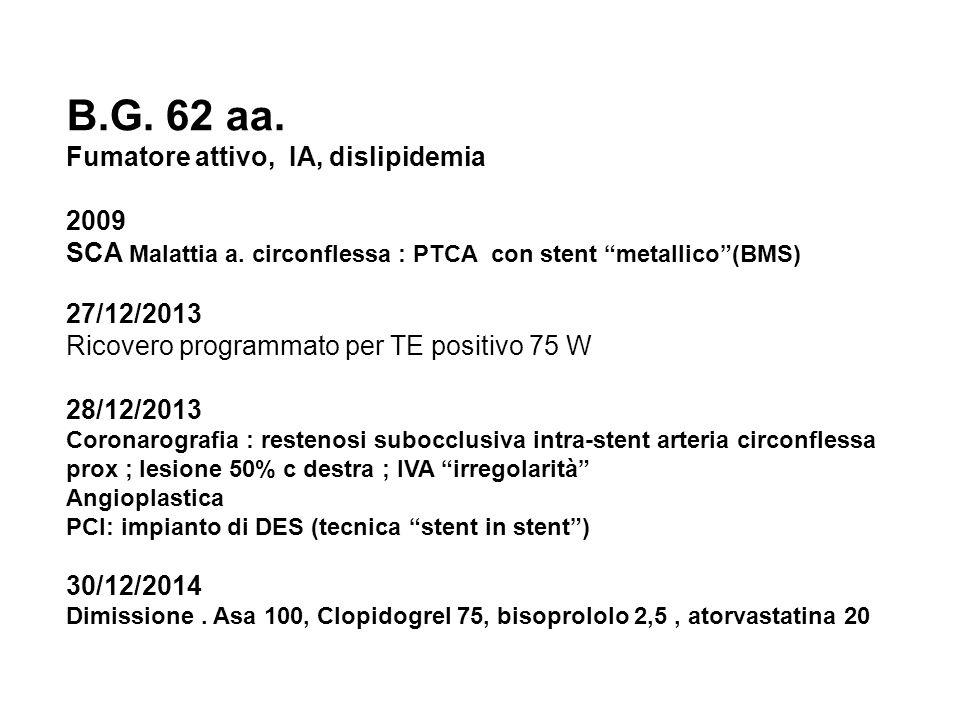 B.G. 62 aa. Fumatore attivo, IA, dislipidemia 2009 SCA Malattia a.