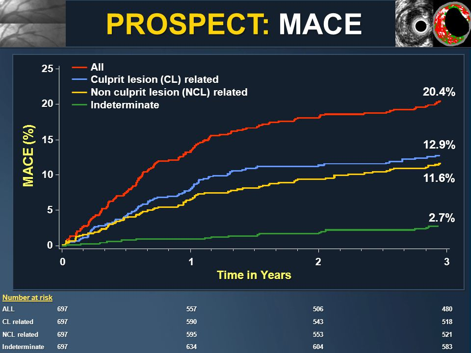 PROSPECT: MACE MACE (%) Time in Years 0123 All Culprit lesion (CL) related Non culprit lesion (NCL) related Indeterminate 0 5 10 15 20 25 Number at risk ALL697 557 557506 480 480 CL related 697 590 590543 518 518 NCL related 697 595 595553 521 521 Indeterminate697 634 634604 583 583 12.9% 20.4% 11.6% 2.7%